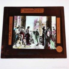 Antigüedades: ANTIGUO CRISTAL LINTERNA MAGICA RELIGIOSO ECCE HOMO SANTO EVANGELIO PROYECCIONES BOSCH - 10X8,5 CM. Lote 198598702