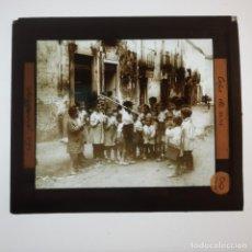 Antigüedades: ANTIGUO CRISTAL LINTERNA MAGICA - LA PROMETENÇA - PRECINEMA INFANTIL EDUCATIVO MUY RARO - 10X8,5 CM. Lote 198618588