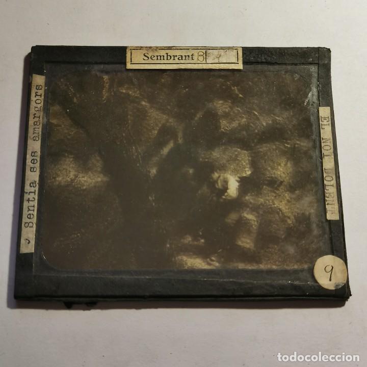 Antigüedades: ANTIGUO CRISTAL LINTERNA MAGICA - EL NOI DOLENT - JOSEP Mª FOLCH TORRES - PRECINEMA - 10X8,5 CM - Foto 2 - 198618857