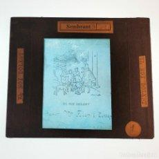 Antigüedades: ANTIGUO CRISTAL LINTERNA MAGICA - EL NOI DOLENT - JOSEP Mª FOLCH TORRES - PRECINEMA - 10X8,5 CM. Lote 198618883