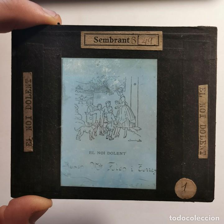 Antigüedades: ANTIGUO CRISTAL LINTERNA MAGICA - EL NOI DOLENT - JOSEP Mª FOLCH TORRES - PRECINEMA - 10X8,5 CM - Foto 2 - 198618883