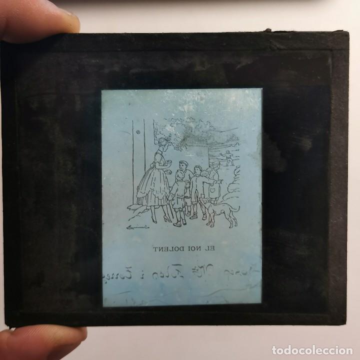 Antigüedades: ANTIGUO CRISTAL LINTERNA MAGICA - EL NOI DOLENT - JOSEP Mª FOLCH TORRES - PRECINEMA - 10X8,5 CM - Foto 3 - 198618883
