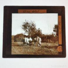 Antigüedades: ANTIGUO CRISTAL LINTERNA MAGICA - EL NOI DOLENT - JOSEP Mª FOLCH TORRES - PRECINEMA - 10X8,5 CM. Lote 198619058