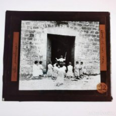 Antigüedades: ANTIGUO CRISTAL LINTERNA MAGICA - LA PROMETENÇA - PRECINEMA EDUCATIVO INFANTIL - 10X8,5 CM. Lote 198619131