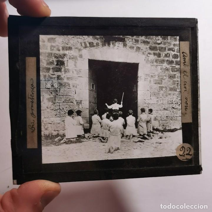 Antigüedades: ANTIGUO CRISTAL LINTERNA MAGICA - LA PROMETENÇA - PRECINEMA EDUCATIVO INFANTIL - 10X8,5 CM - Foto 2 - 198619131