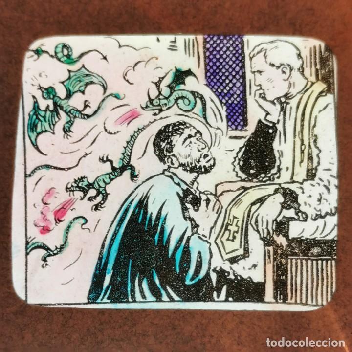 ANTIGUO CRISTAL LINTERNA MAGICA DOCTRINA CRISTIANA LOS SACRAMIENTOS 29 PROYECCIONES BOSCH 10X8,5 CM (Antigüedades - Técnicas - Aparatos de Cine Antiguo - Linternas Mágicas Antiguas)