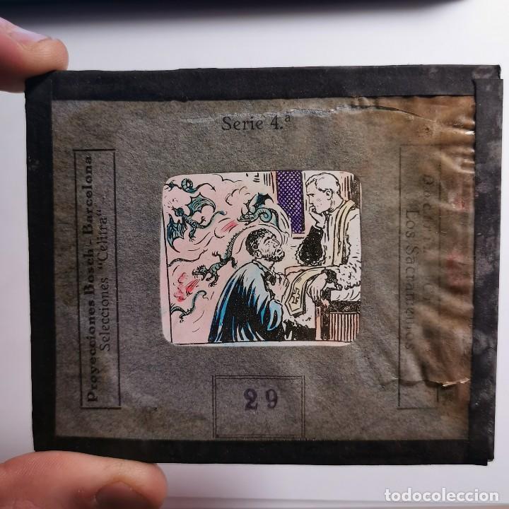 Antigüedades: ANTIGUO CRISTAL LINTERNA MAGICA DOCTRINA CRISTIANA LOS SACRAMIENTOS 29 PROYECCIONES BOSCH 10X8,5 CM - Foto 2 - 198619633