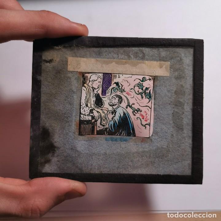 Antigüedades: ANTIGUO CRISTAL LINTERNA MAGICA DOCTRINA CRISTIANA LOS SACRAMIENTOS 29 PROYECCIONES BOSCH 10X8,5 CM - Foto 3 - 198619633