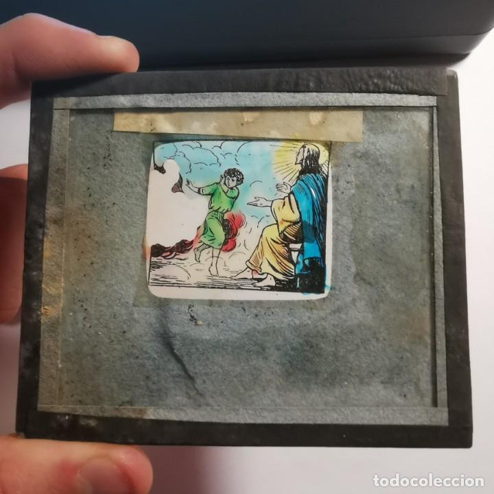 Antigüedades: ANTIGUO CRISTAL LINTERNA MAGICA DOCTRINA CRISTIANA LOS SACRAMIENTOS 9 PROYECCIONES BOSCH 10X8,5 CM - Foto 3 - 198619705