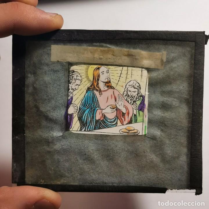Antigüedades: ANTIGUO CRISTAL LINTERNA MAGICA DOCTRINA CRISTIANA LOS SACRAMIENTOS 15 PROYECCIONES BOSCH 10X8,5 CM - Foto 3 - 198619763