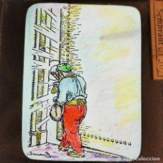 Antiguidades: ANTIGUO CRISTAL LINTERNA MAGICA - EL FERRER DE FIGUERES - PRECINEMA INFANTIL EDUCATIVO - 10X8,5 CM. Lote 198621358
