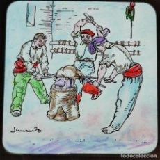 Antiguidades: ANTIGUO CRISTAL LINTERNA MAGICA - EL FERRER DE FIGUERES - PRECINEMA INFANTIL EDUCATIVO - 10X8,5 CM. Lote 198622335