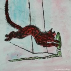 Antiguidades: ANTIGUO CRISTAL LINTERNA MAGICA - UN GATO - PRECINEMA INFANTIL EDUCATIVO - 10X8,5 CM. Lote 198623933