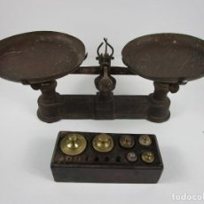 Antigüedades: ANTIGUA BALANZA - BASCULA, MARCA FORCE 5 KG - CON PESAS DE BRONCE. Lote 198674343