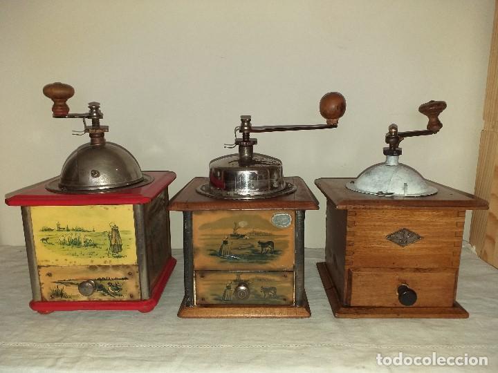 3 MOLINOS MOLINILLOS DE CAFE DE LA FIRMA FRANCESA E.G. EDMOND GRULET. (Antigüedades - Técnicas - Molinillos de Café Antiguos)