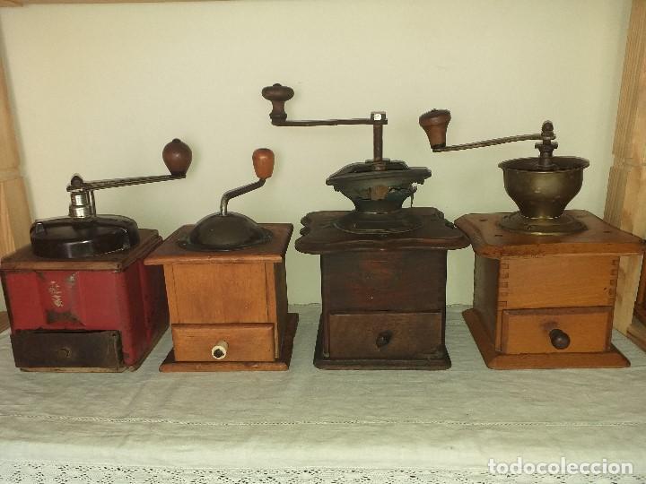 4 MOLINO MOLINILLO DE CAFE ANTIGUOS, (PEUGEOT FRERES, PETER DIENES, .......) (Antigüedades - Técnicas - Molinillos de Café Antiguos)