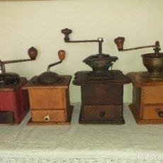 Antigüedades: 4 MOLINO MOLINILLO DE CAFE ANTIGUOS, (PEUGEOT FRERES, PETER DIENES, .......). Lote 198899676