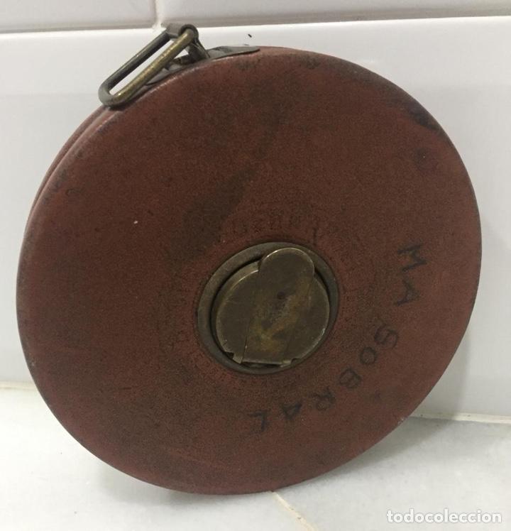 Antigüedades: ANTIGUO METRO INGLÉS CUERO 1900 - Foto 2 - 199222411