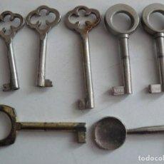 Antiquités: 7 LLAVES DE ARMARIO DE VARIOS MODELOS. Lote 199743233