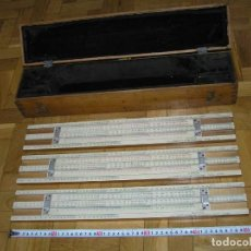 Antigüedades: 1936 TRES GRANDES REGLAS DE CÁLCULO EN SU COFRE DE MADERA REGLA SLIDE RULE RECHENSCHIEBE KEISANJYAKU. Lote 199770648