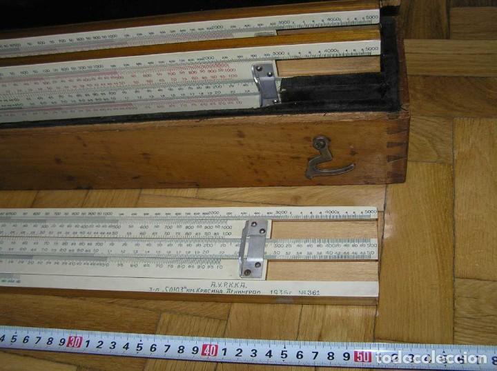 Antigüedades: 1936 TRES GRANDES REGLAS DE CÁLCULO EN SU COFRE DE MADERA REGLA SLIDE RULE RECHENSCHIEBE KEISANJYAKU - Foto 35 - 199770648