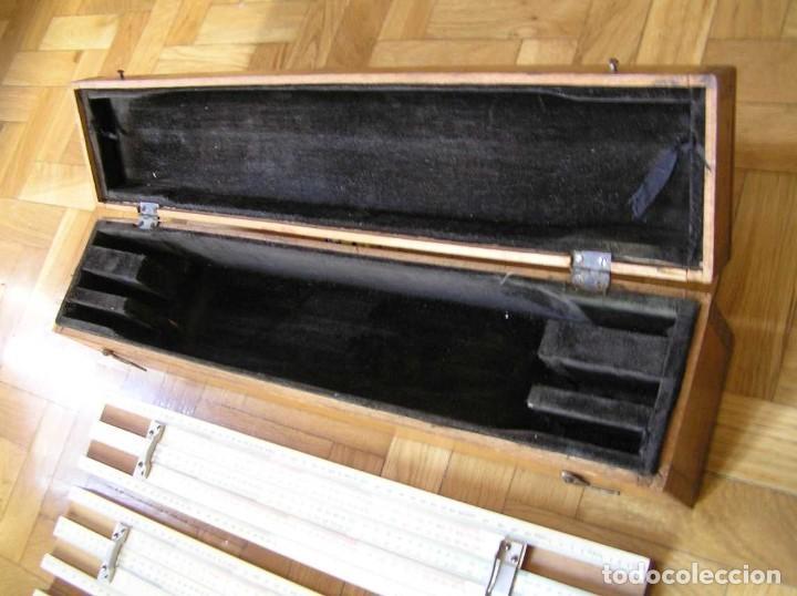 Antigüedades: 1936 TRES GRANDES REGLAS DE CÁLCULO EN SU COFRE DE MADERA REGLA SLIDE RULE RECHENSCHIEBE KEISANJYAKU - Foto 47 - 199770648