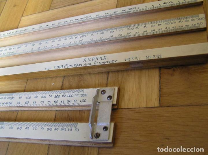 Antigüedades: 1936 TRES GRANDES REGLAS DE CÁLCULO EN SU COFRE DE MADERA REGLA SLIDE RULE RECHENSCHIEBE KEISANJYAKU - Foto 97 - 199770648