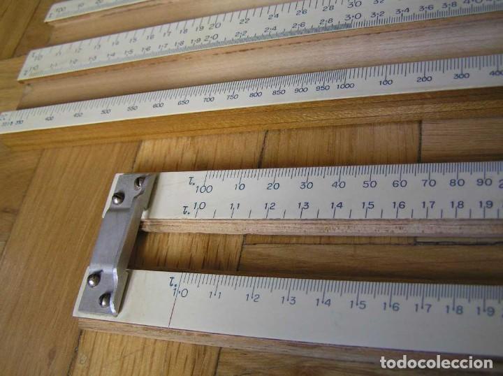 Antigüedades: 1936 TRES GRANDES REGLAS DE CÁLCULO EN SU COFRE DE MADERA REGLA SLIDE RULE RECHENSCHIEBE KEISANJYAKU - Foto 98 - 199770648