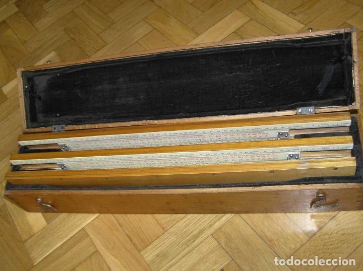 Antigüedades: 1936 TRES GRANDES REGLAS DE CÁLCULO EN SU COFRE DE MADERA REGLA SLIDE RULE RECHENSCHIEBE KEISANJYAKU - Foto 182 - 199770648