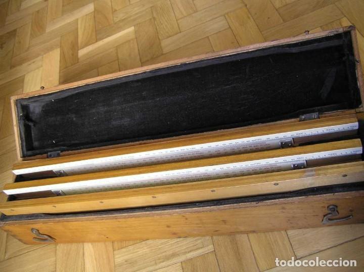 Antigüedades: 1936 TRES GRANDES REGLAS DE CÁLCULO EN SU COFRE DE MADERA REGLA SLIDE RULE RECHENSCHIEBE KEISANJYAKU - Foto 183 - 199770648