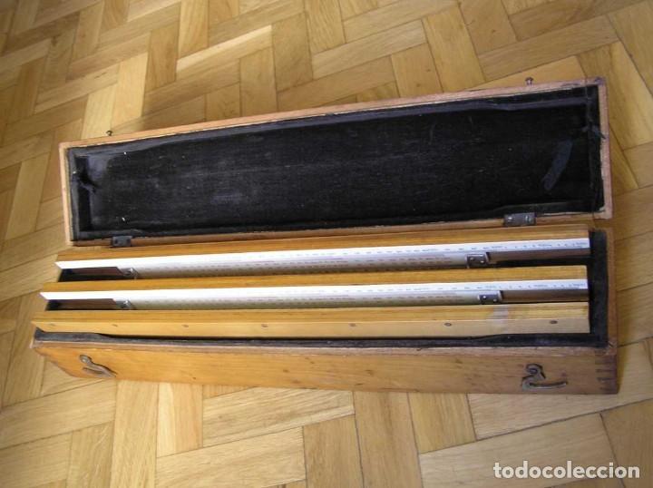 Antigüedades: 1936 TRES GRANDES REGLAS DE CÁLCULO EN SU COFRE DE MADERA REGLA SLIDE RULE RECHENSCHIEBE KEISANJYAKU - Foto 184 - 199770648