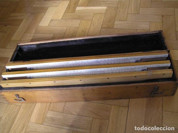 Antigüedades: 1936 TRES GRANDES REGLAS DE CÁLCULO EN SU COFRE DE MADERA REGLA SLIDE RULE RECHENSCHIEBE KEISANJYAKU - Foto 192 - 199770648