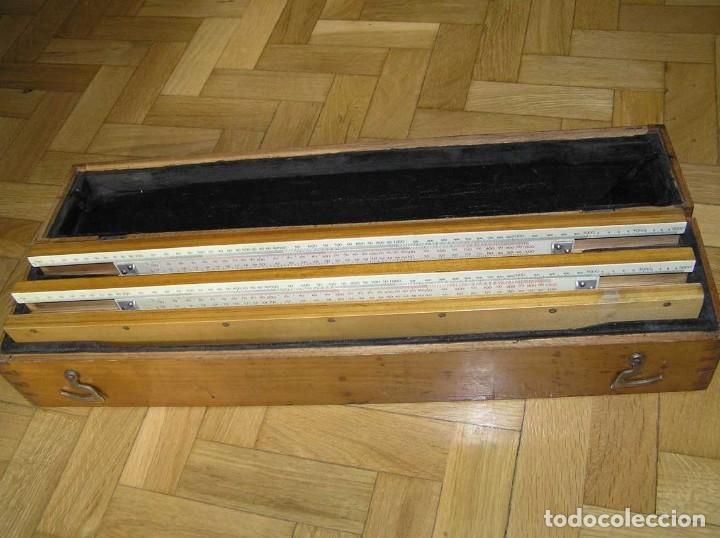 Antigüedades: 1936 TRES GRANDES REGLAS DE CÁLCULO EN SU COFRE DE MADERA REGLA SLIDE RULE RECHENSCHIEBE KEISANJYAKU - Foto 193 - 199770648