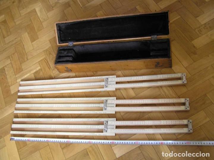 Antigüedades: 1936 TRES GRANDES REGLAS DE CÁLCULO EN SU COFRE DE MADERA REGLA SLIDE RULE RECHENSCHIEBE KEISANJYAKU - Foto 244 - 199770648