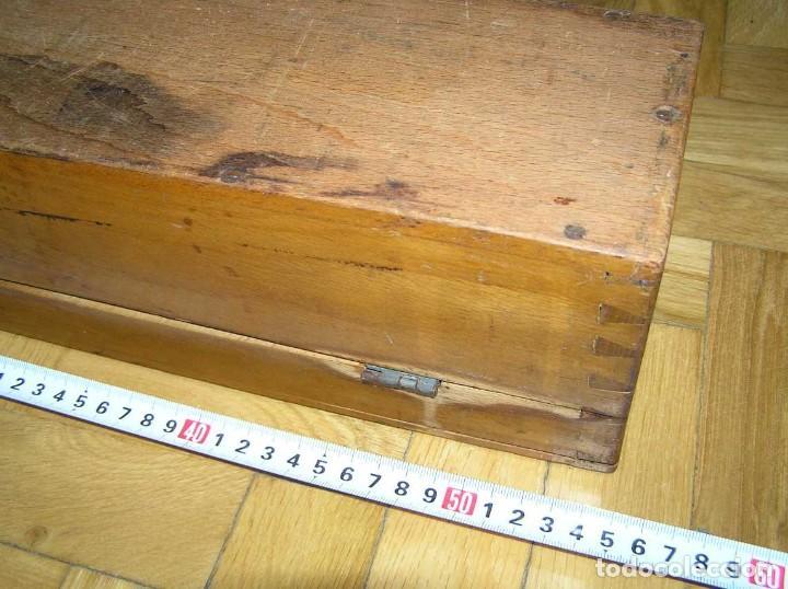 Antigüedades: 1936 TRES GRANDES REGLAS DE CÁLCULO EN SU COFRE DE MADERA REGLA SLIDE RULE RECHENSCHIEBE KEISANJYAKU - Foto 271 - 199770648