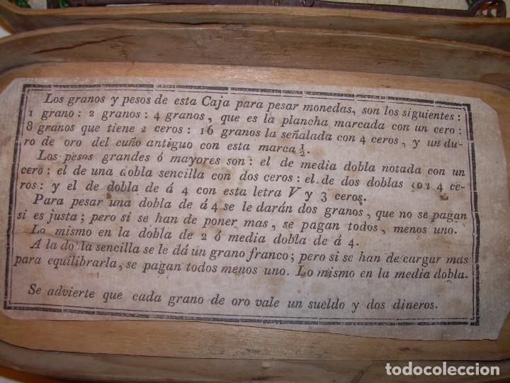 Antigüedades: ANIGUA BALANZA DE HIERRO FORJADO PARA PESAR MONEDAS DE ORO Y PLATA.CON CAJA ORIGINAL. - Foto 6 - 199774167