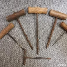 Antigüedades: HERRAMIENTA - LOTE DE 6 BERBIQUIES DE CARPINTERO - BERBIQUI BARRENA TALADRO. Lote 199870221