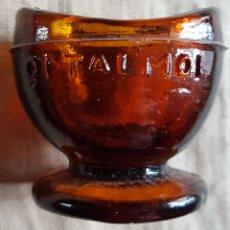 Antigüedades: ANTIGUO LAVAOJOS CRISTAL MARRON OFTALMOL. Lote 199944495