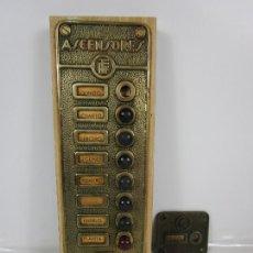Antigüedades: ANTIGUA PLACA DE ASCENSOR - ASCENSOR FFF. - BRONCE - PULSADORES EN BAQUELITA. Lote 200275282
