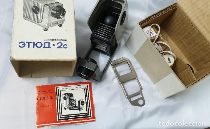 PROYECTOR DE DIAPOSITIVAS SOVIETICO ETUDE 2C (Antigüedades - Técnicas - Aparatos de Cine Antiguo - Proyectores Antiguos)