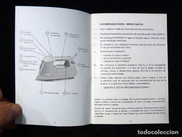 Antigüedades: MANUAL INSTRUCCIONES GARANTÍA PLANCHA AUTOMÁTICA DE VAPOR SPRAY, UFESA, MODELO 40. AÑOS 80 - Foto 3 - 200337843