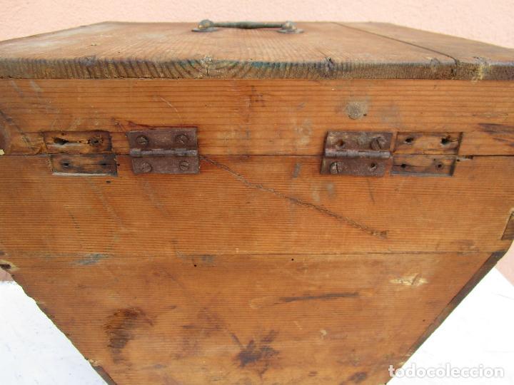 Antigüedades: Antigua Caja - Teodolito - Aparato Topográfico Militar - Madera de Pino - S. XIX - Foto 15 - 200363153
