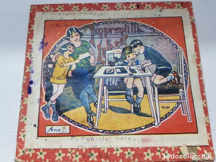 Antigüedades: Juego tampones Imprentilla Infantil años 30 en caja original - Foto 4 - 200549252