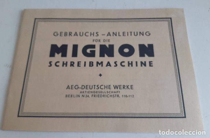 INSTRUCCIONES, EN ALEMAN, MAQUINA DE ESCRIBIR AEG MIGNON (Antigüedades - Técnicas - Máquinas de Escribir Antiguas - Mignon)