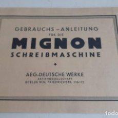 Antigüedades: INSTRUCCIONES, EN ALEMAN, MAQUINA DE ESCRIBIR AEG MIGNON. Lote 200571906