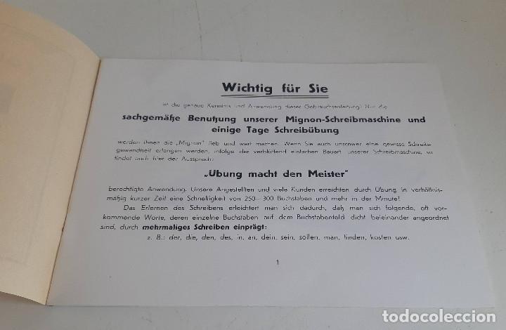 Antigüedades: Instrucciones, en aleman, maquina de escribir AEG Mignon - Foto 2 - 200571906