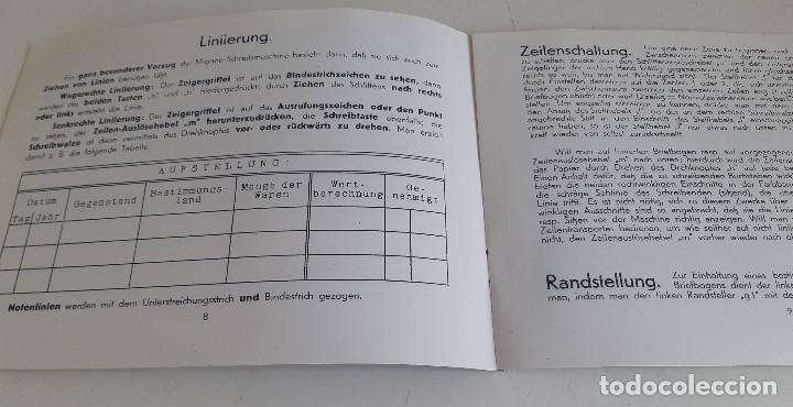 Antigüedades: Instrucciones, en aleman, maquina de escribir AEG Mignon - Foto 3 - 200571906