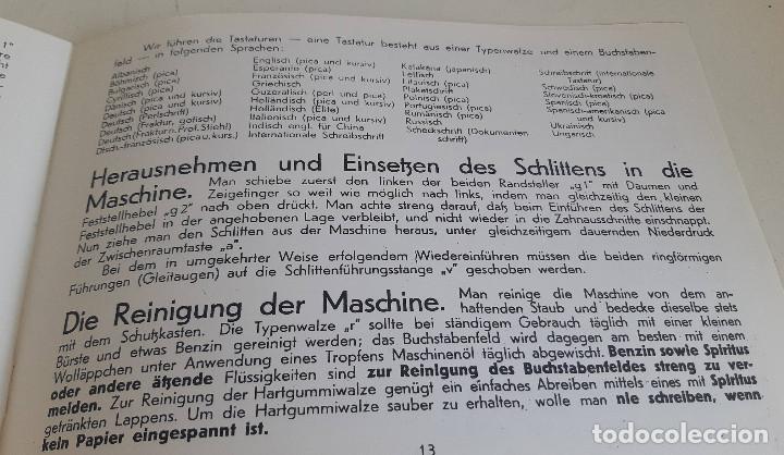 Antigüedades: Instrucciones, en aleman, maquina de escribir AEG Mignon - Foto 4 - 200571906