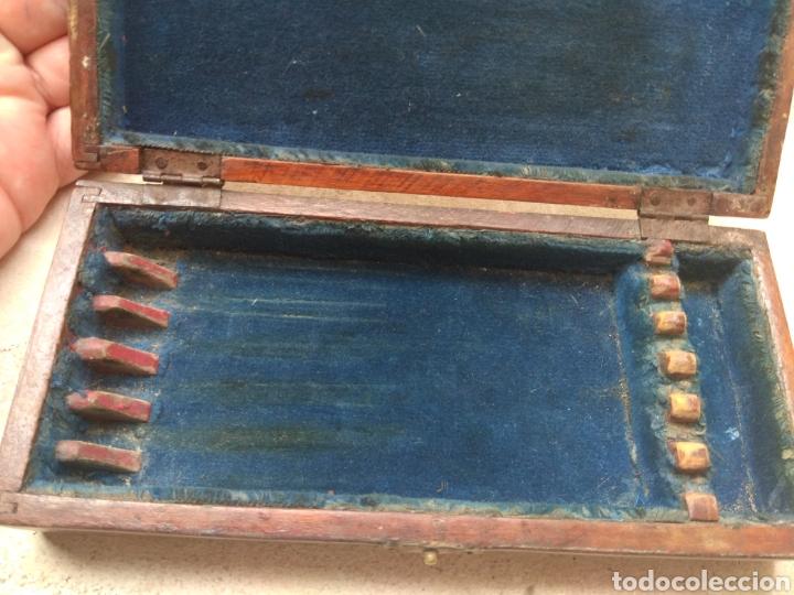 Antigüedades: Caja de Madera para Navajas de Barbero - Foto 6 - 124516186