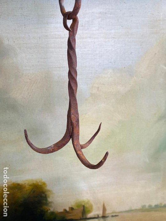 ANTIGUO GANCHO DE POZO EN FORJA (Antigüedades - Técnicas - Medidas de Peso Antiguas - Otras)